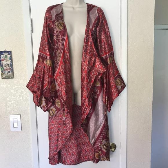 Unique recycled vintage sari silk kimono